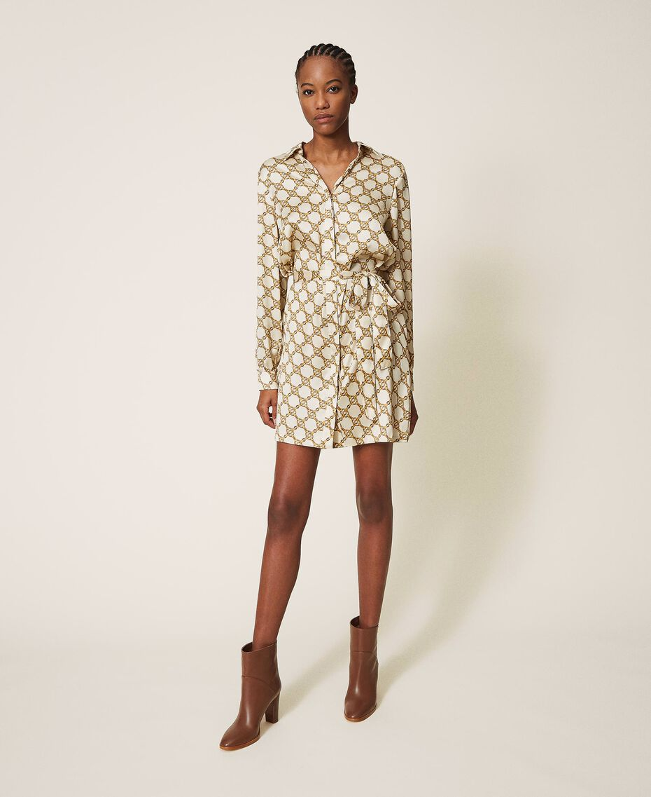 Hemdblusenkleid mit Kettenprint Kettenprint Elfenbein / Gold Frau 202TT2210-02