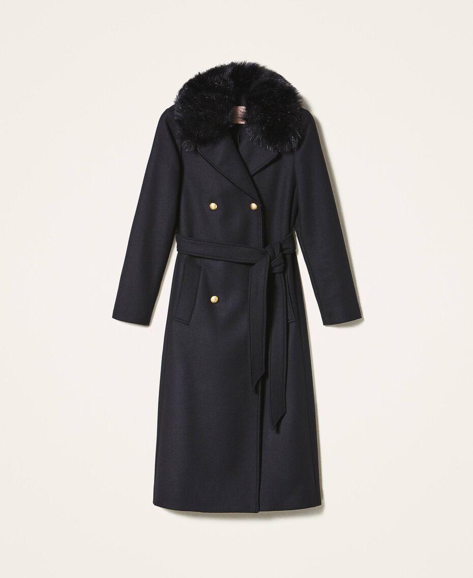 Manteau en drap de cachemire mélangé Noir Femme 202TT214A-0S