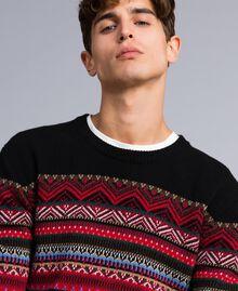 Multi-coloured jacquard wool blend jumper Black Jacquard / Black Man UA83HP-04