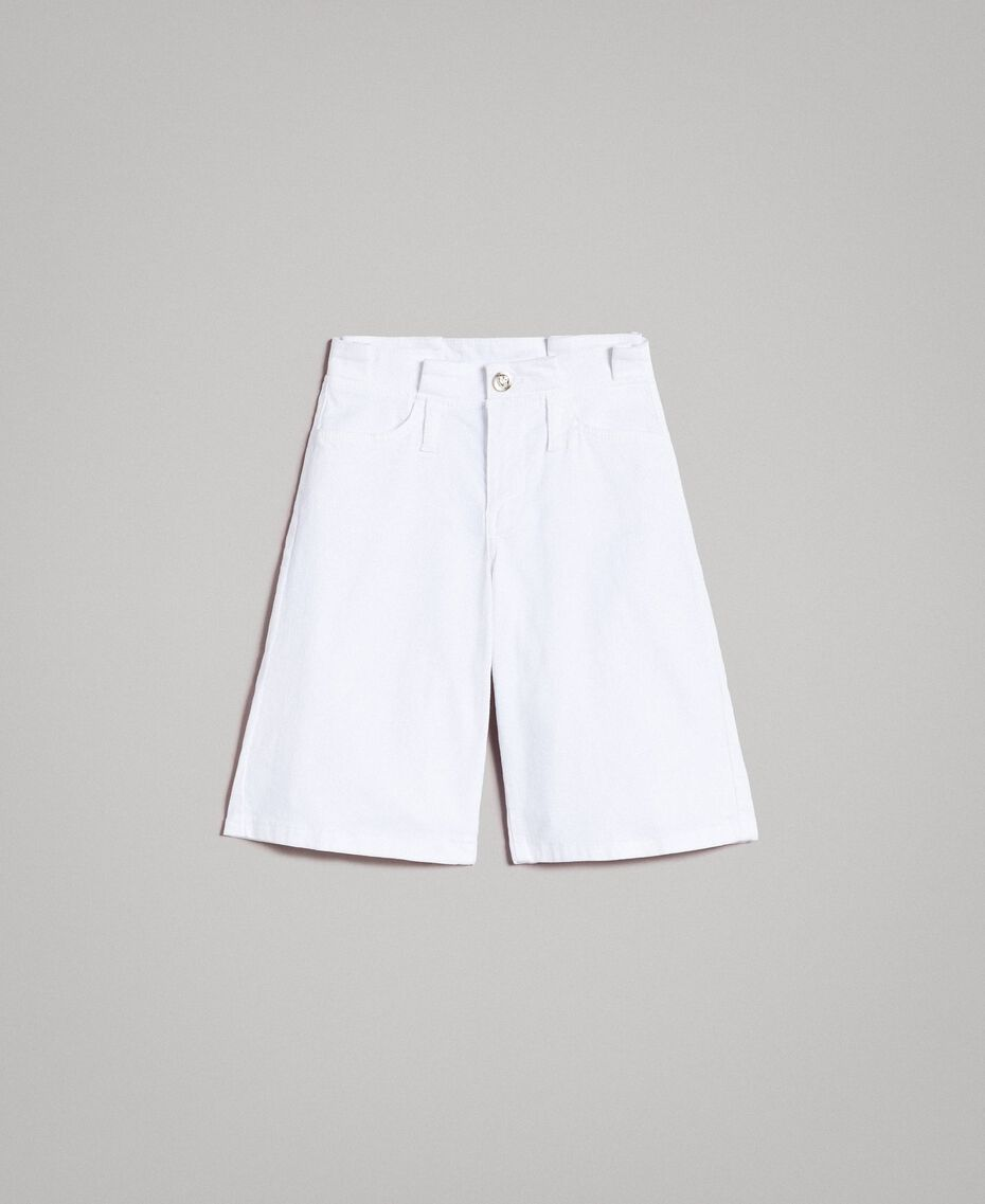 Шорты-бермуды из хлопкового твила Белый Pебенок 191GJ2493-01
