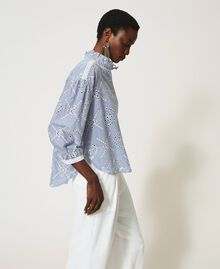 "Poplin shirt with broderie anglaise ""Snow"" White / ""Indigo"" Blue Stripe Broderie Anglaise Woman 211TT2412-06"
