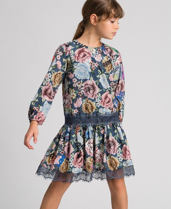 Crêpe dress with floral and graffiti print