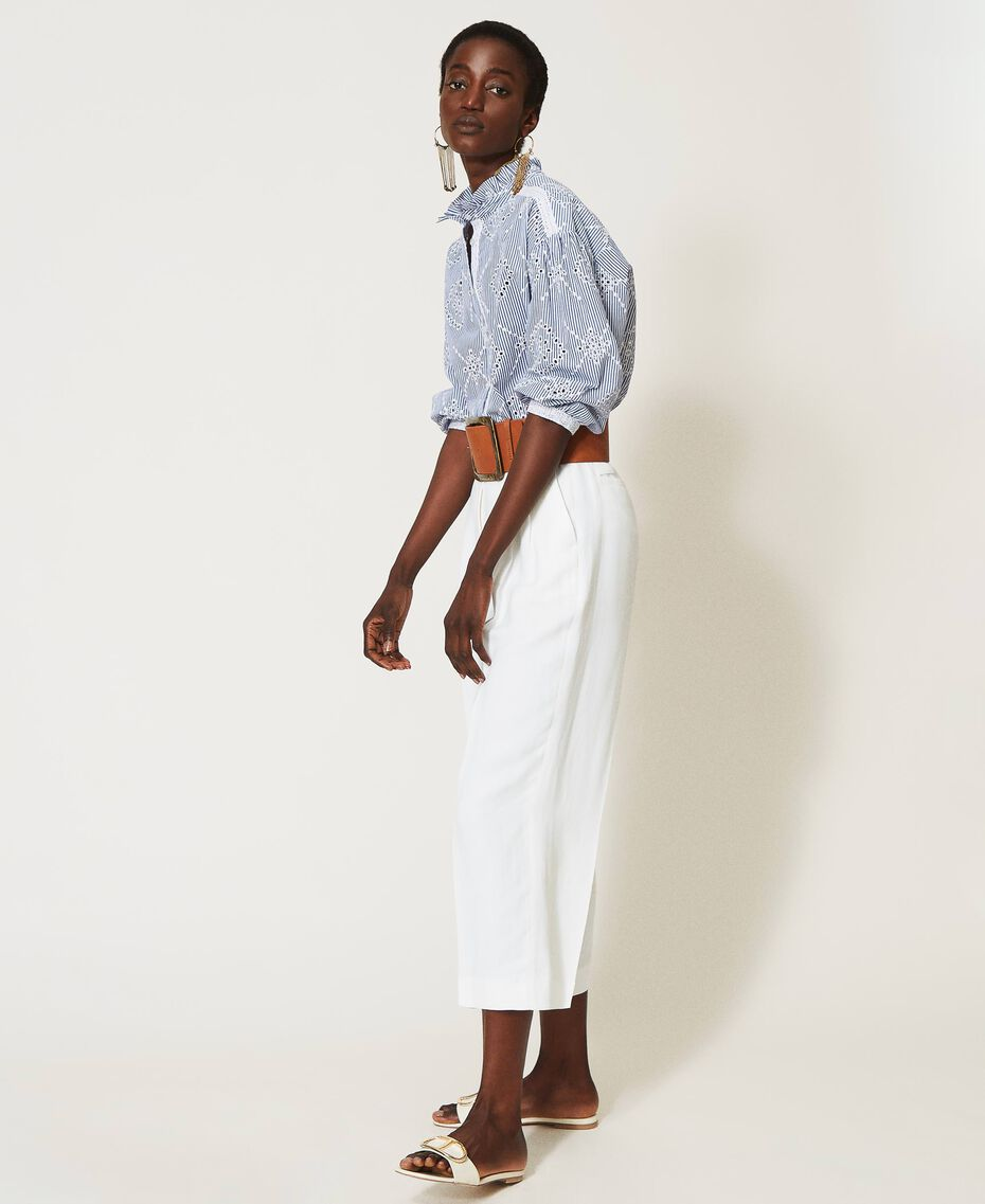 "Poplin shirt with broderie anglaise ""Snow"" White / ""Indigo"" Blue Stripe Broderie Anglaise Woman 211TT2412-02"