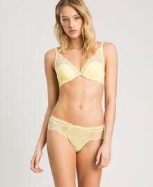 """Lace Brazilian briefs """"Daisy Yellow"""" Woman 191LL6B77-0S"""