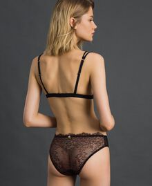"Two-tone lace briefs Black / ""Dolly"" Pink Woman 192LI6466-03"