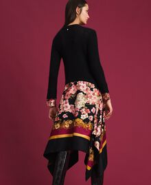Dress in mohair and printed twill Black / Scarf Print Woman 192TP3060-03