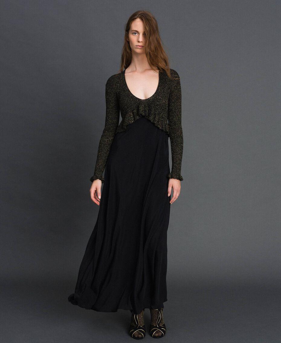 Lurex and silk blend long dress Black Lurex Woman 192TT3170-01