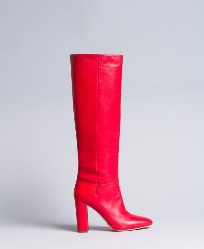 Leather high boots Poppy Red Woman CA8PLA-01