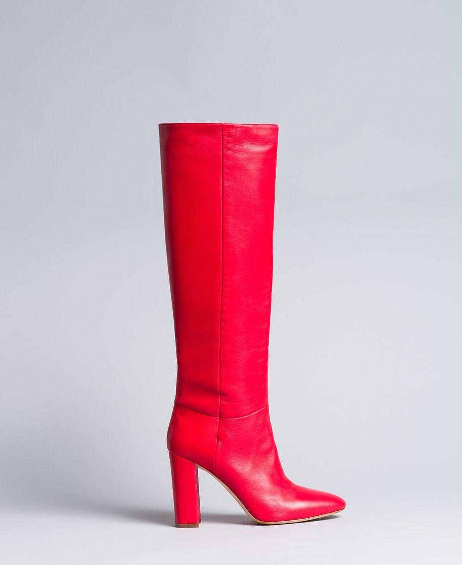 Высокие кожаные сапоги Красный Мак женщина CA8PLA-01