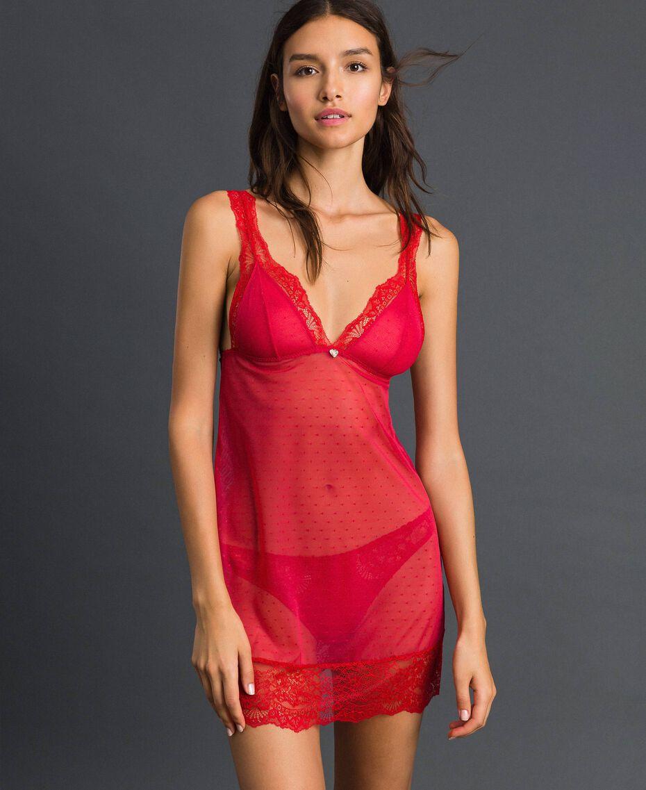 Nuisette en dentelle et tulle plumetis Rouge Ardent Femme 192LL6CZZ-01