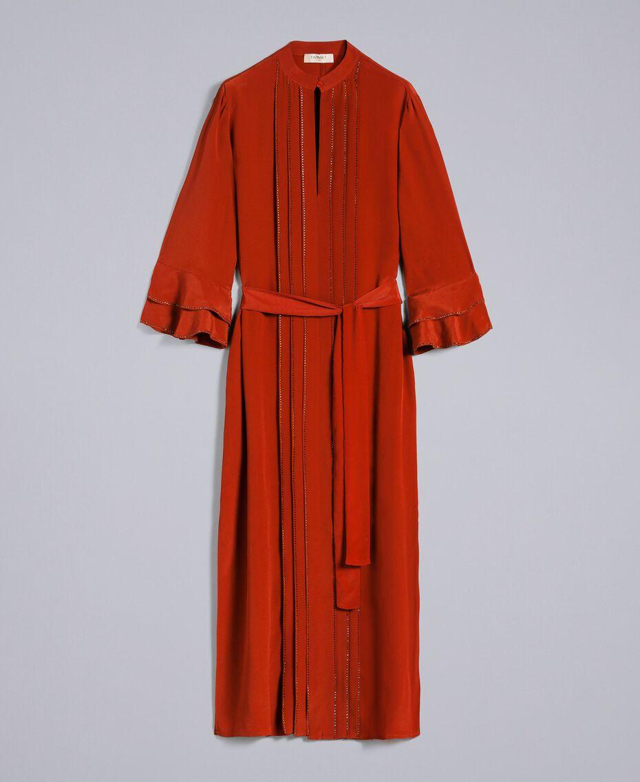 Robe longue en soie mélangée avec strass Brûlé Femme TA8233-0S