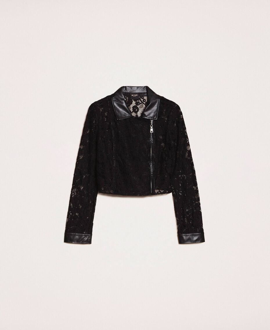 Macramé lace biker jacket Black Woman 201MP2231-0S