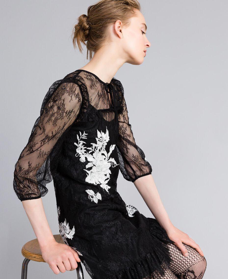 Short Valencienne lace dress Black Woman PA824P-02