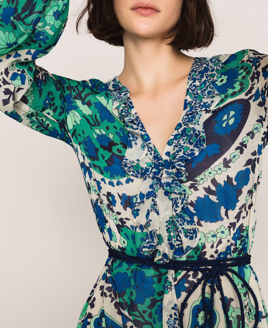 Длинное платье из жоржета с принтом пейсли Принт Кашемир Сапфир / Синий женщина 201TP2533-05