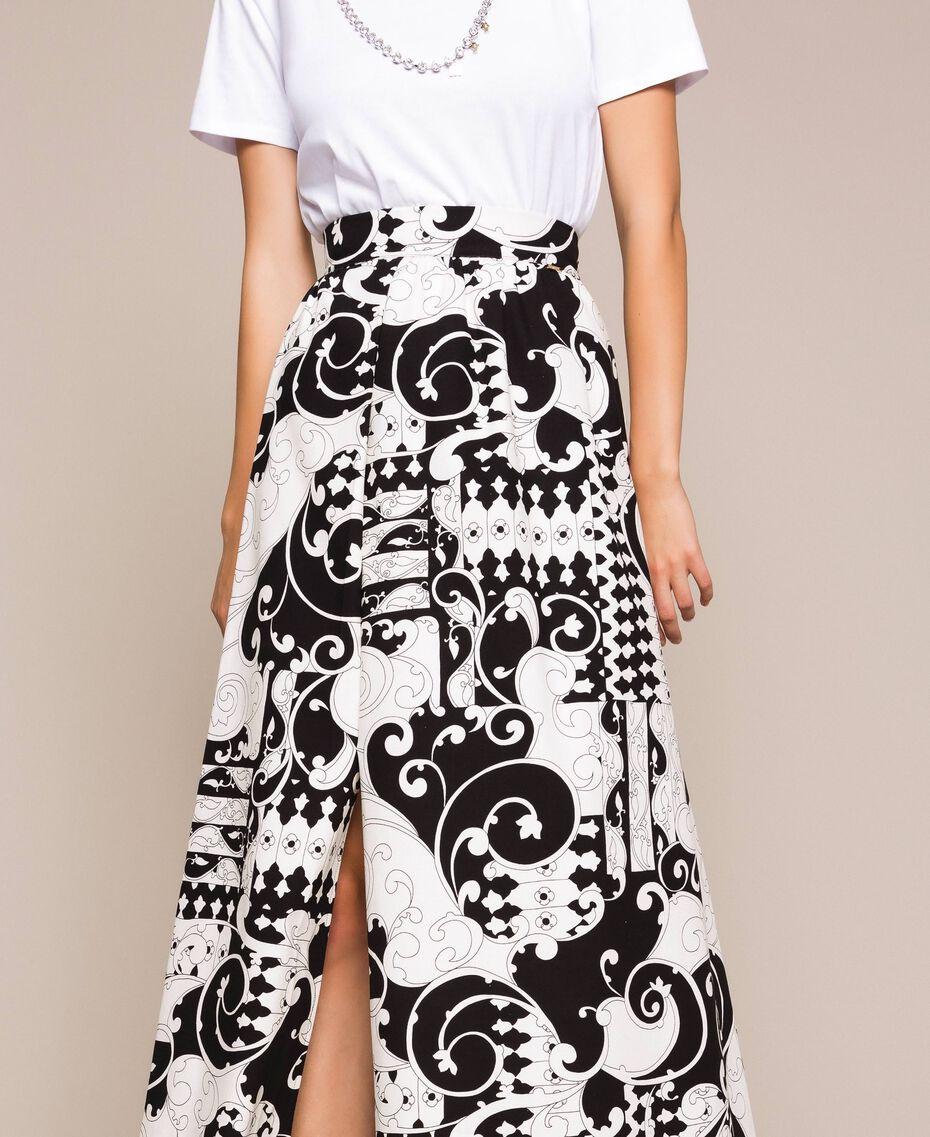 Jupe longue en toile imprimée Imprimé Liberty Blanc / Noir Femme 201ST213A-02