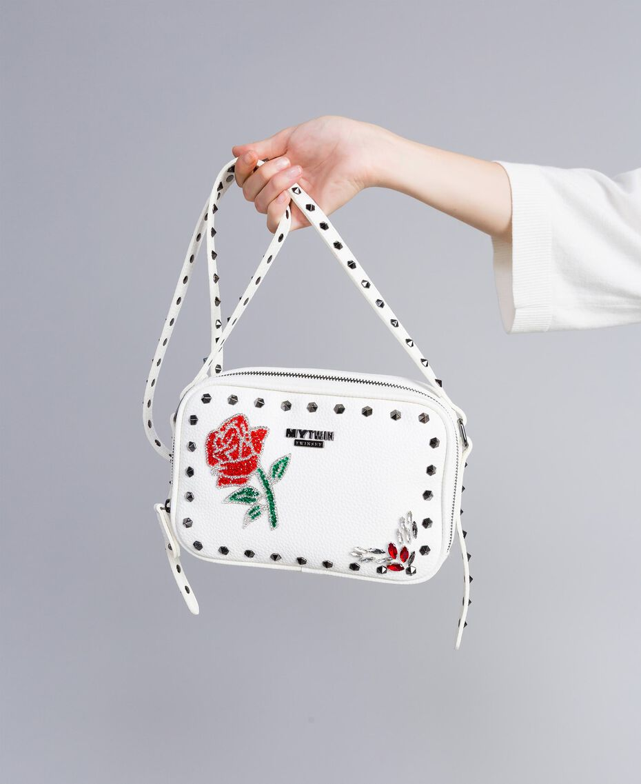 "Shoulder bag with patchwork and studs ""Ice"" White Woman VA8PGC-0S"