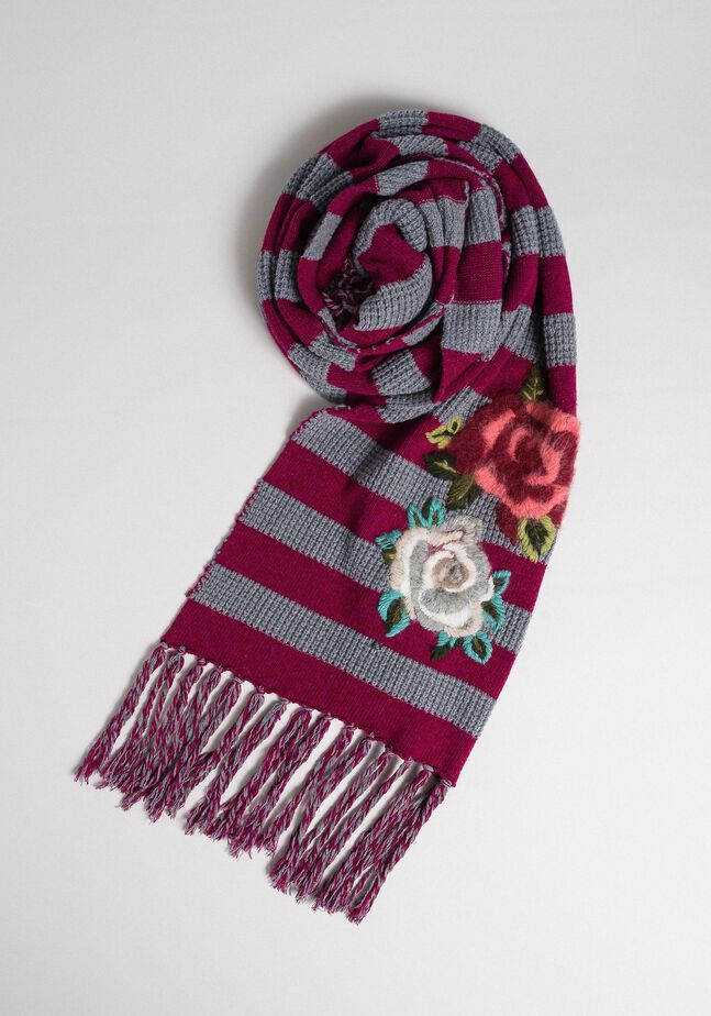 Striped knit scarf with embroidery and fringes