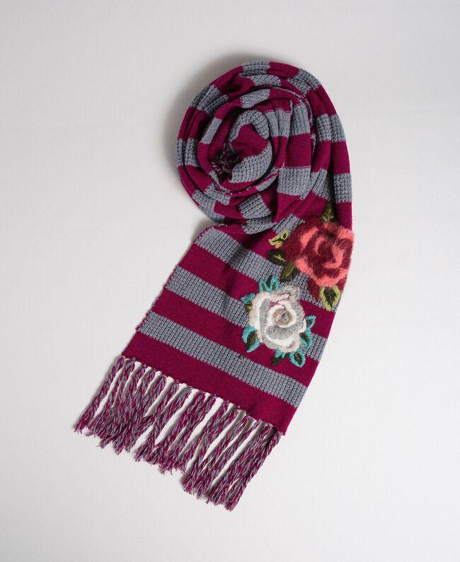 Sciarpa in maglia a righe con ricamo e frange Riga Rosso Beet / Grigio Mélange Donna 192TA441K-01
