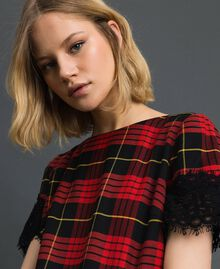 Chequered wool dress with lace Pomegranate Tartan Jacquard Woman 192TP2621-04