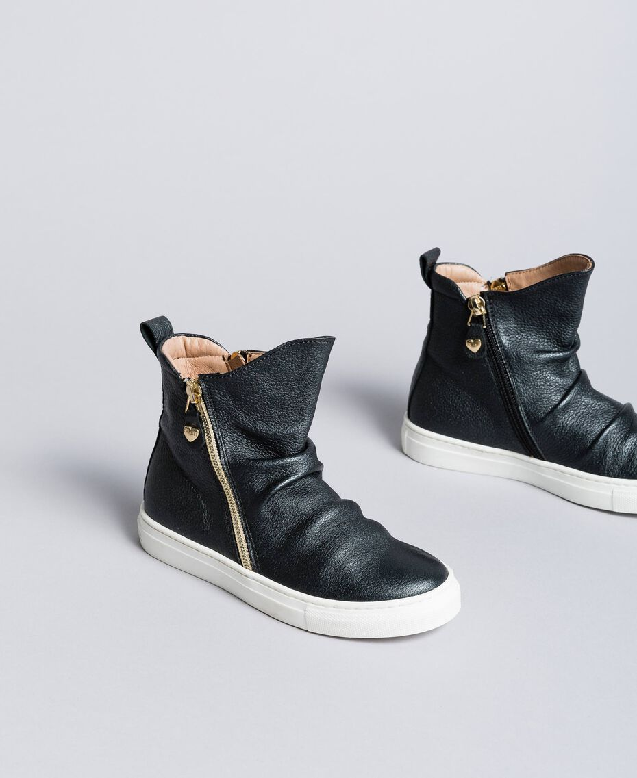 Sneakers abotinadas de piel Negro Niño HA88B1-02