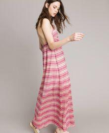 """Robe longue avec rayures lurex Rayures Multicolores Rose / Rose """"Crème De Tangerine"""" Femme 191LB2AFF-01"""