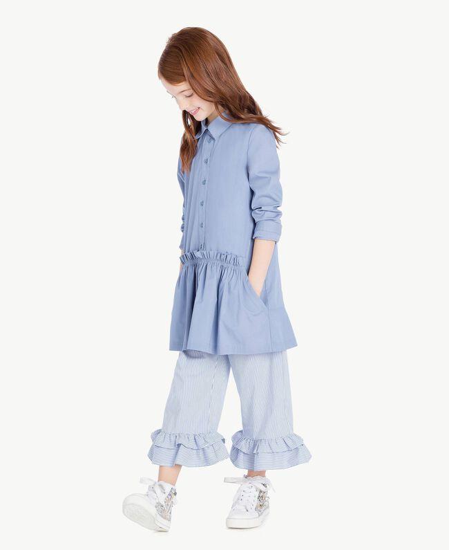 Pantalon popeline Jacquard Grand Bâtonnet Bleu Enfant GS82LT-06