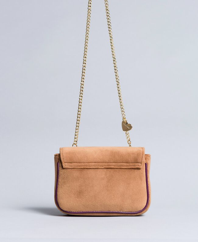Velvet shoulder bag with embroidery and rhinestones Camel Woman AA8PBN-03