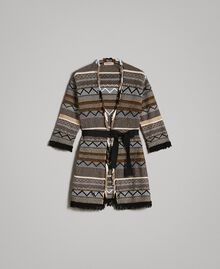 Maxi cardigan with inlay details and fringes Multicolour Neutral Grey Striping Woman 191TT3160-0S