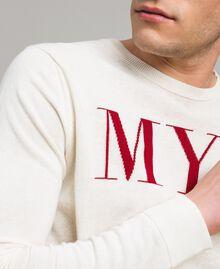 """Pull en crêpe de coton avec logo Bicolore Blanc Opaque / Rouge """"Framboise Foncé"""" Homme 191UT3040-04"""