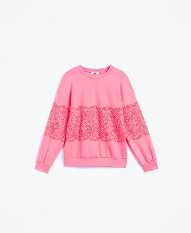 Sweat en viscose avec dentelle Rose Royal Pink Femme IA8CCC-01