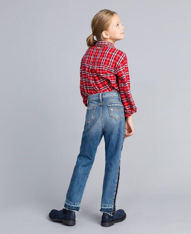 "Jean fluide avec bandes en contraste Bleu ""Denim Moyen"" Enfant GA82VA-04"
