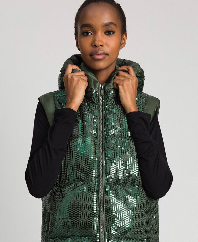 "Padded waistcoat with sequin embroidery ""Forest"" Green Woman 192ST2051-03"
