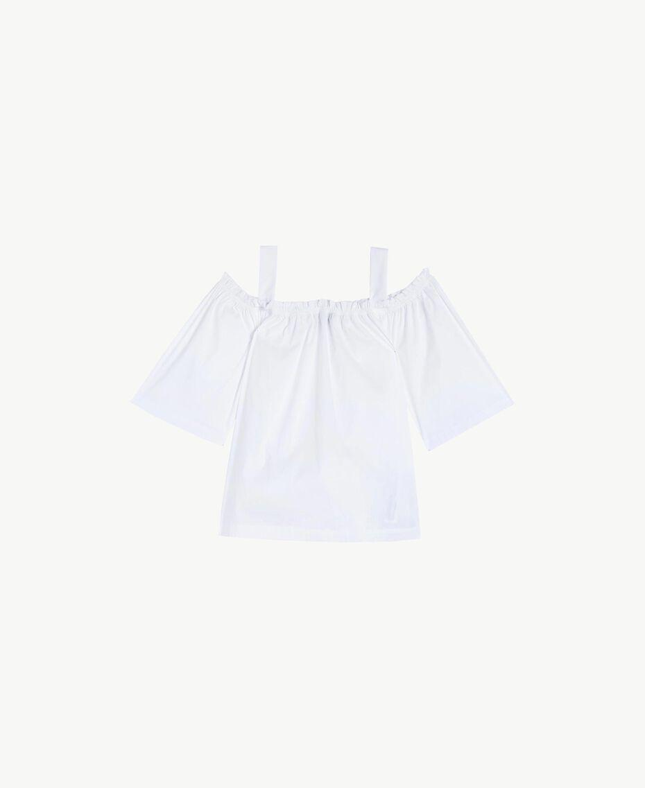 Bluse aus Popeline Weiß Frau BS8EMM-01