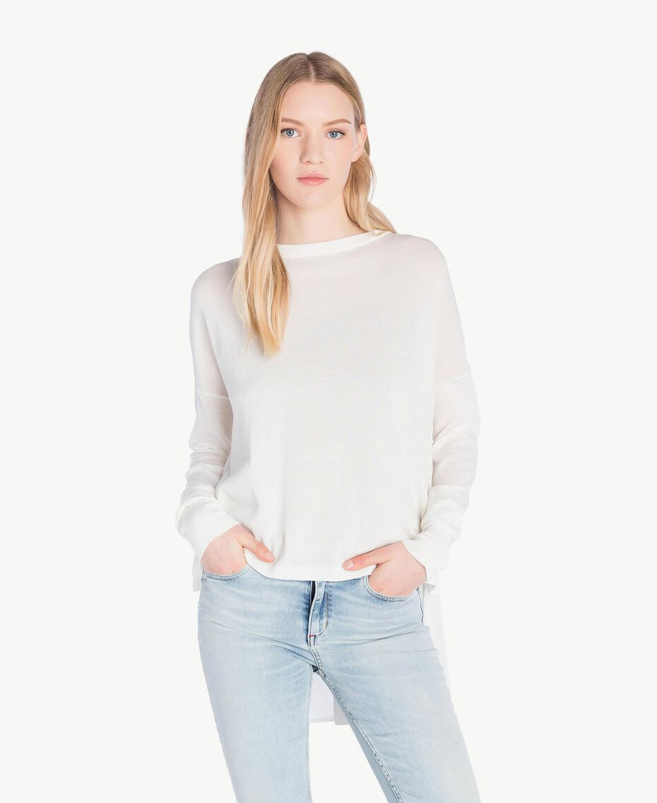Asymmetric jumper White Woman JS83GA-01