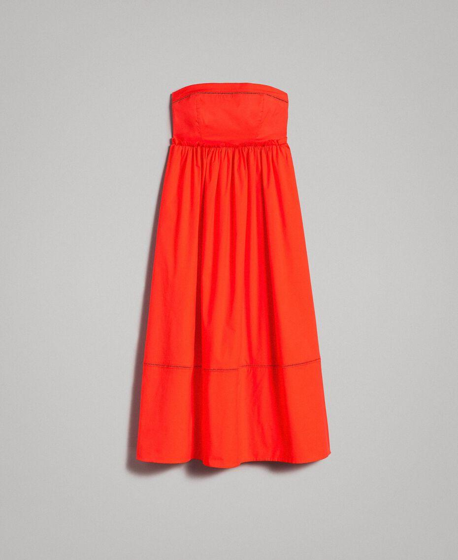 Poplin long bustier dress Granadine Red Woman 191TT2247-0S