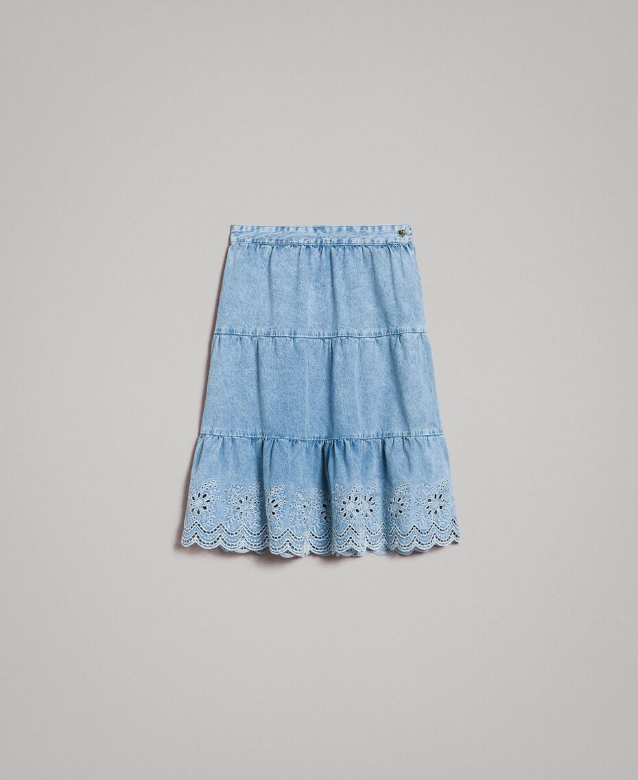 Mid-length skirt with broderie anglaise and flounces Denim Blue Woman 191MP2011-0S