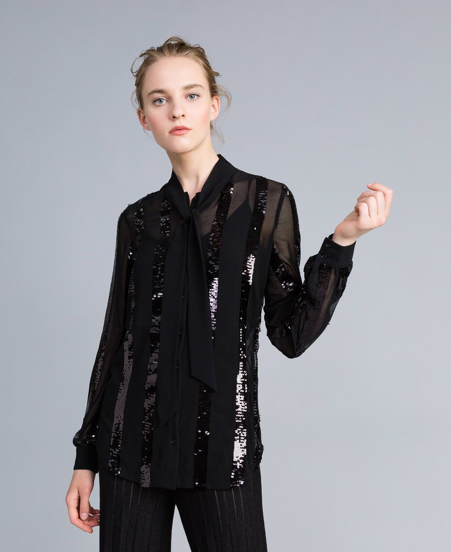 Chemise en crêpe georgette avec paillettes Noir Femme PA82J2-02