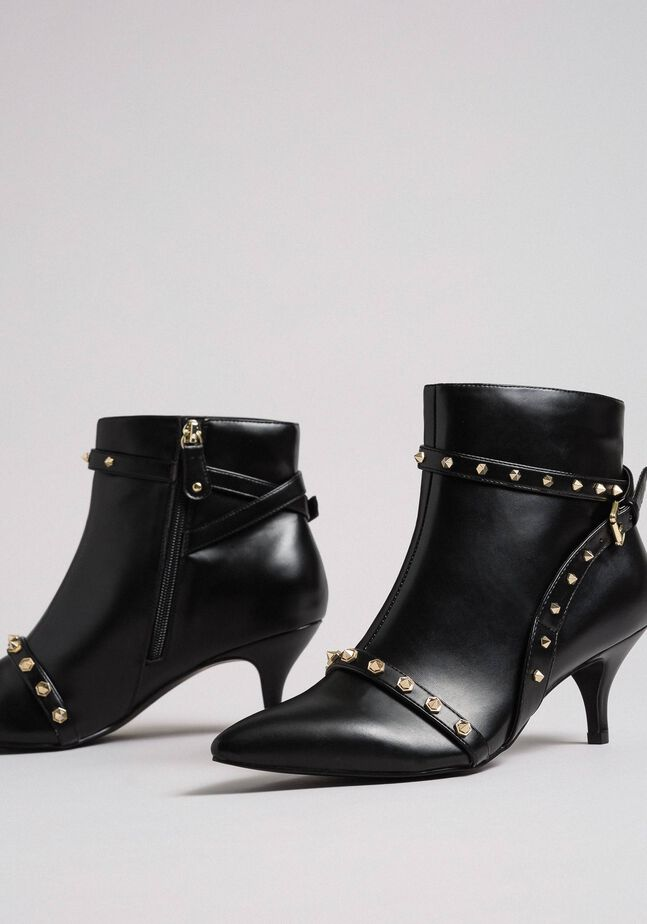 Faux leather ankle boots with studs