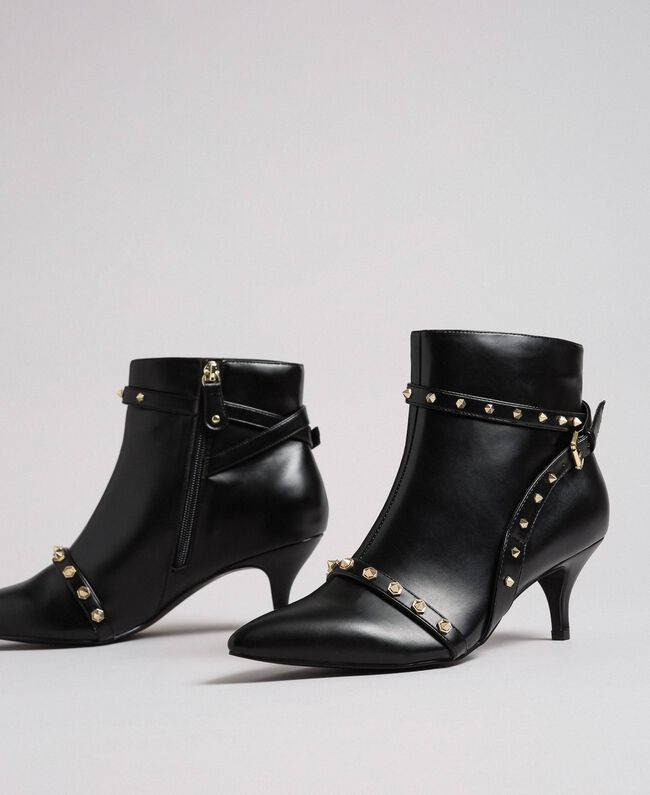 Faux leather ankle boots with studs Black Woman 192MCT050-01