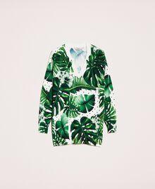 Maxi maglia stampata con paillettes Stampa Tropical Pois Verde Donna 201TP3263-0S