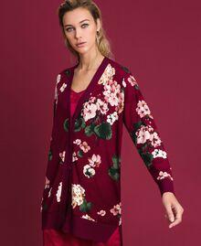 Maxi cardigan imprimé Imprimé Rouge Betterave Géranium Femme 192TP3363-01