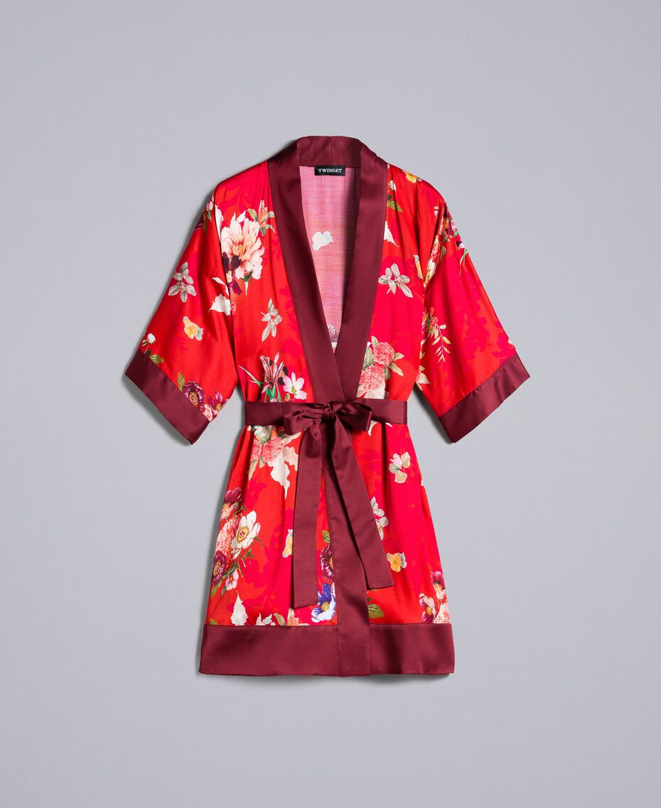 Long floral print satin kimono Red Garden Print Woman PA829N-0S