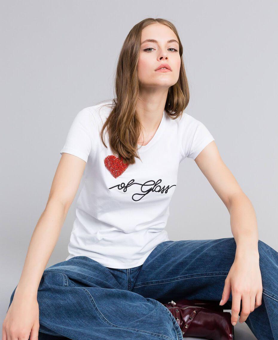 """T-Shirt aus Jersey mit Herz aus Strass """"Ice""""-Weiß Frau JA82MQ-02"""