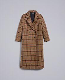 """Langer Mantel aus Tuch mit Karomuster Zweifarbiges Karomuster Cookie-Beige / """"Gebranntes"""" Orange Frau TA821G-0S"""