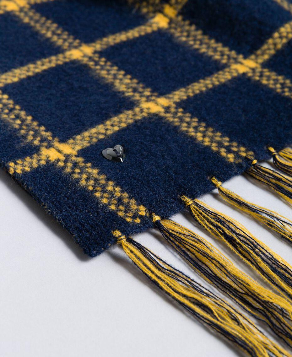 Schal aus Tuch in Jacquardverarbeitung Zweifarbig Goldgelb / Nachtblau Frau RA8T1G-02