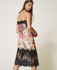 Printed satin slip dress with lace Animal Print Woman 202LL2EJJ-03