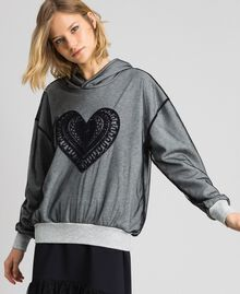 Sweatshirt aus Tüll mit Stickerei Hellgrau-Mélange Frau 192LI2TBB-02