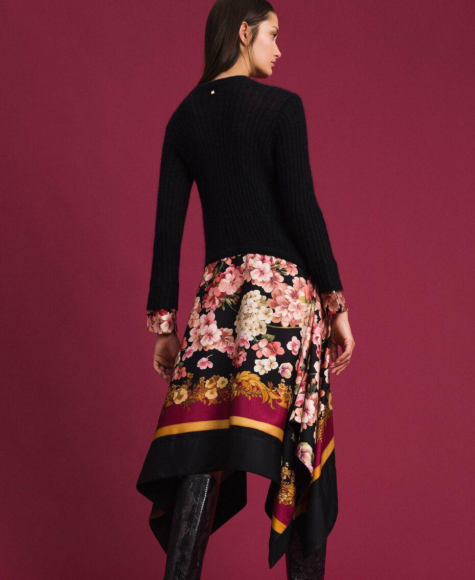 Kleid aus Mohair und bedrucktem Twill Schwarz / Foulardprint Frau 192TP3060-03