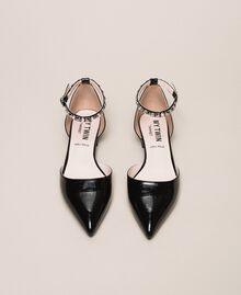 Лаковые туфли-балетки со стразами Черный женщина 201MCP01G-05
