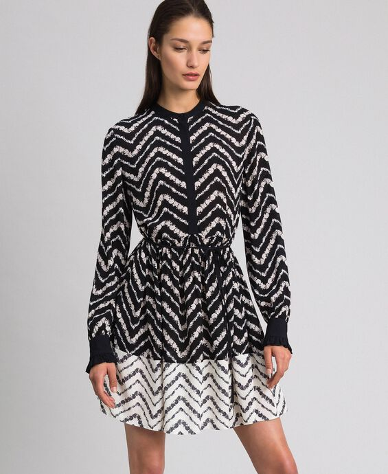 Chevron floral print shirt dress